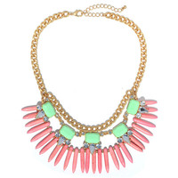 Pink Tribal Spikes Necklace