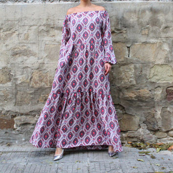 NEW SS16 Viscose Maxi dress, Boho Dress, Plus size dress, Long Dress, Party Dress, Dress with Pockets, Long sleeves dress