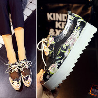 Korean Platform Height Increase Flat Lace Thick Crust Leather Low-cut Shoes [4920470852]
