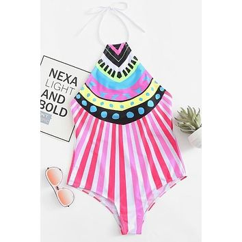 Striped High Neck Swimsuit