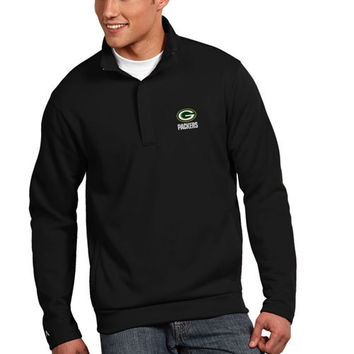 Green Bay Packers Antigua Victor Quarter Zip Pullover Jacket – Black