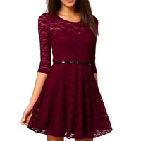 Velishy Womens O-Neck 3/4 Sleeve Lace Sakter Dress with Belt Wine Red X-Small US