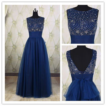 Sweet royal blue v-back beaded top long prom dress with bow, tulle prom dress,evening party dress, long formal dress, bridesmaid dress DP234