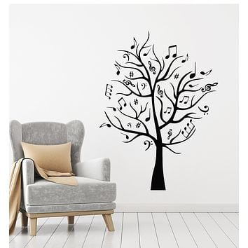 Vinyl Wall Decal Musical Tree Branches Nature Notes Musical Art Stickers Mural (g516)