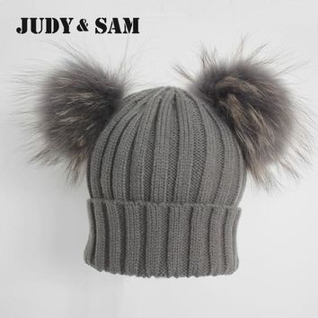 Winter Real Fur Ball Beanie Hat for Women Fluffy Raccoon Fur Pom Poms Skullies Beanies