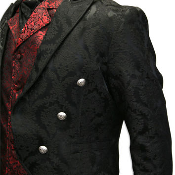 Regency Brocade Tailcoat -  Black