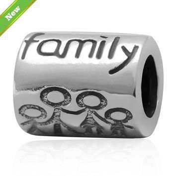 """New 925 sterling silver tube charm beads """"Family"""" Fits for Pandora Bracelets jewelry f"""