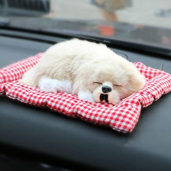 ABS Plush Dogs Car Decoration Ornament Simulation Sleeping Dog Toy Press Sounding Auto Dashboard Ornaments Cute Car Accessories
