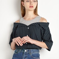 Tank Off The Shoulder Striped Shirt by New Revival