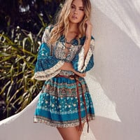 """Free People"" Fashion Retro Multicolor Floral Print V-Neck Bandage Pagoda Sleeve Mini Dress"