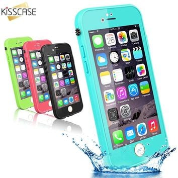 KISSCASE For iPhone 7 6 6s Case Touchable Screen Waterproof Cases For iPhone 7 6 6s Plus Ultra Slim 360 Full Protective Cover
