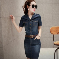 2016 Summer Casual office Denim Dress Fashion Denim Jeans Dresses Vestidos Cotton Plus Size Women Clothing