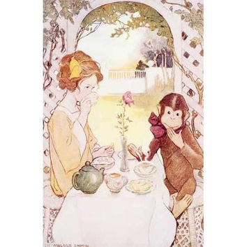 Tea for Two Monkey Poster