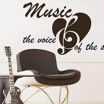 Wall Decal Quote Music the voice of the soul Phrase Recording Studio Decor C204