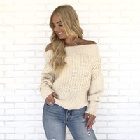 Fall Into You Knit Sweater in Cream