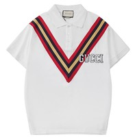 GUCCI new tide brand men's casual POLO shirt short-sleeved T-shirt white