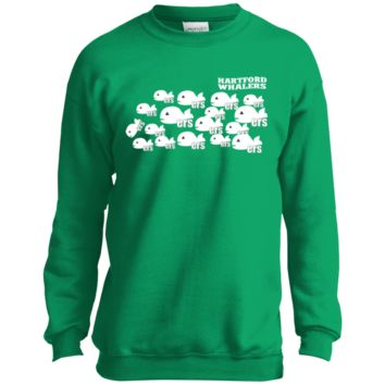 Retro Hartford Whalers Pucky Repeat Youth Crewneck Sweatshirt