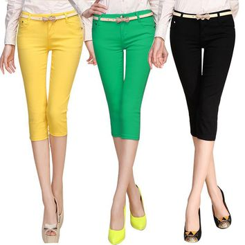 Free Shipping Summer Candy Color Pencil Women Pants Slim Trousers Good Quality Casual Capris Sexy Stretch Jeans Drop Shipping