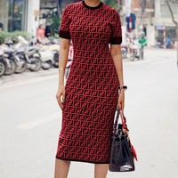 FENDI Hot Sale Women Sexy F Letter Print Short Sleeve Round Collar Knee-Length Dress