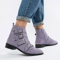 Office Archive four buckle lilac suede ankle boots at asos.com