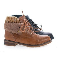 Sweater02 Tan Pu By Nature Breeze, Round Toe Lace Up Faux Wool Shaft & Knitted Collar Ankle Boots