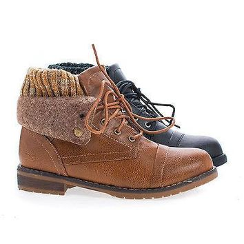 Sweater02 By Nature Breeze, Round Toe Lace Up Faux Wool Shaft & Knitted Collar Ankle Boots