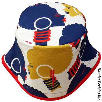 African Queen Red-brim Gold XL Bucket Hat   Afro   Afrocentric Hat   Natural Hair Hat   African Silhouette   Red Blue Hat by Hamlet Pericles