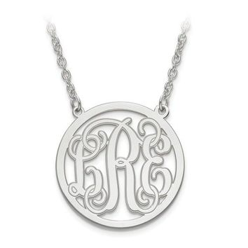 Sterling Silver Personalized Monogram with Etched Outline Station Pendant Necklace