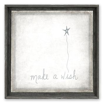 Rustic Framed Canvas Art - Make A Wish - Rustic Natural Grey Tone Finish 12x12