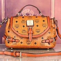 MCM New fashion letter print leather shoulder bag women Brown