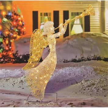 Angel Christmas Yard Art - 70 Clear Mini Lights