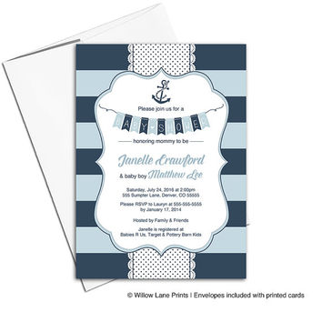 Nautical baby shower invitations for boys - nautical baby shower ideas - navy invitations with anchor - printable or printed - WLP00785