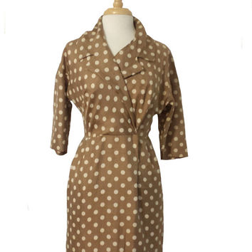 Vintage Dress 1960s Polka Dot Wrap Style Wiggle Dress Bronze and Ivory Polka Dot Pattern - 3/4 Length Sleeves and Collar