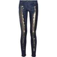 Roberto Cavalli Sequin-embellished mid-rise skinny jeans