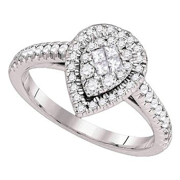 14kt White Gold Women's Princess Diamond Cluster Bridal Wedding Engagement Ring 1/2 Cttw - FREE Shipping (US/CAN)