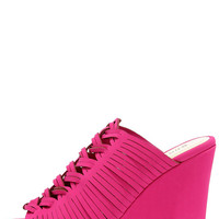 Striking and Lucky Magenta Nubuck Platform Wedges