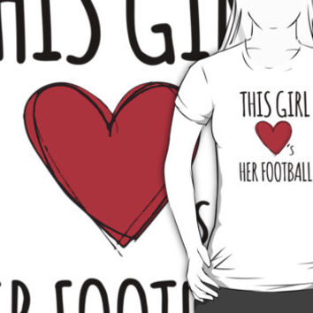 Cute 'This Girl Loves Her Football' Cool T-Shirt