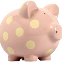 Elegant Baby Classic Pig Bank with Cream Polka Dots - Pastel Pink