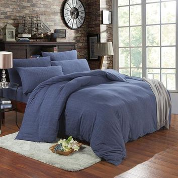 ac VLXC Bedroom On Sale Hot Deal Cotton Denim Knit Bedding Set [45978812441]