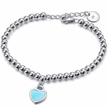 Silver Plated Beads Bangles Love Heart Bracelet Prevention Allergy Fashion Romantic Jewelry TIFF Christmas Gifts For Women