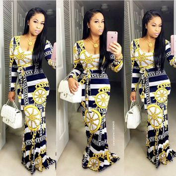 Bodycon sexy femme vestidos bazin riche robe plaid golden chain print dashiki dress sheath party club women dress  FREE SHIPPING