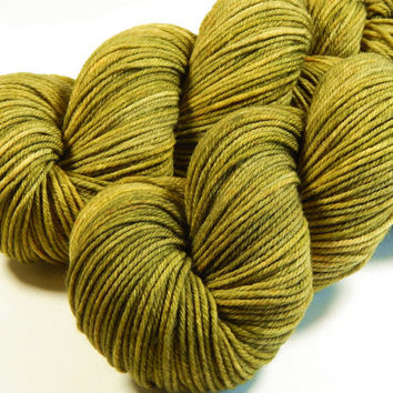 Hand Dyed Yarn - Worsted Weight Superwash Merino Lambswool Yarn - Olive Oil Tonal - Knitting Yarn, Wool Yarn, Tonal Yarn, Golden Olive