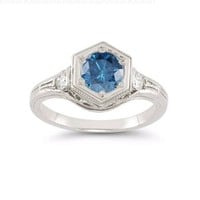 Roman Art Deco London Blue and White Topaz Ring in .925 Sterling Silver