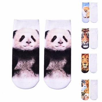 New Women Socks 3D Print Low Socks 12 Pattern Fashion Kawaii Animal Dog Lion Panda Rabbit Funny Casual Socks Xmas Socks