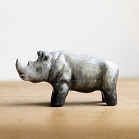Animal Totem Rhinoceros, rhino totem figurine, grey home decor, tiny zoo, brown and grey, wild animals