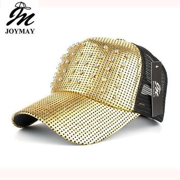 CREYCI7 Joymay Spring New Women Metal color Mesh Baseball cap With Beads Pin up Adjustable Fashion Leisure Casual Snapback HAT B428