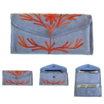 Women Blue Envelope Leather Wallet With Card Holder Embroidered Purse HANDMADE