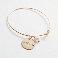Personalized Gold Name Bangle Name Bracelet Personalized Bracelet Bridesmaid jewlery Mom New Mom gifts Mother of the Bride Graduation Gift