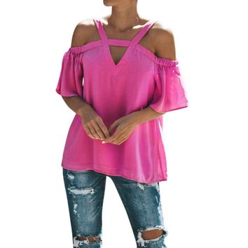 WuyiM® Women T-Shirt Short Sleeve Ladies Cold Off Shoulder Tops T Shirt V Neck Summer Top Blouse Clothes for Women Sale Clearance