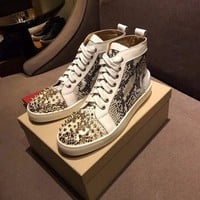DCCKU62 Sale Christian Louboutin CL Lou Spikes Men's Flat Shoes